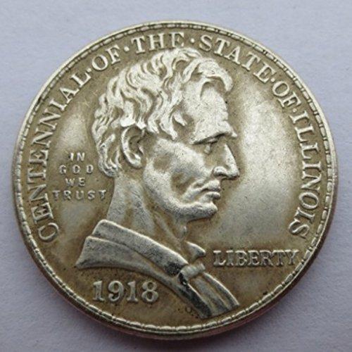 - RARE Antique USA United States 1918 Illinois Centennial Silver Color Half Dollar Coin