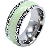 watches for women nickle free - Qiao La CZ Watch Clock Inlay Fluorite Luminous Glow Light Up In Dark Promise Engraved Steel Petite Band Ring Size 16