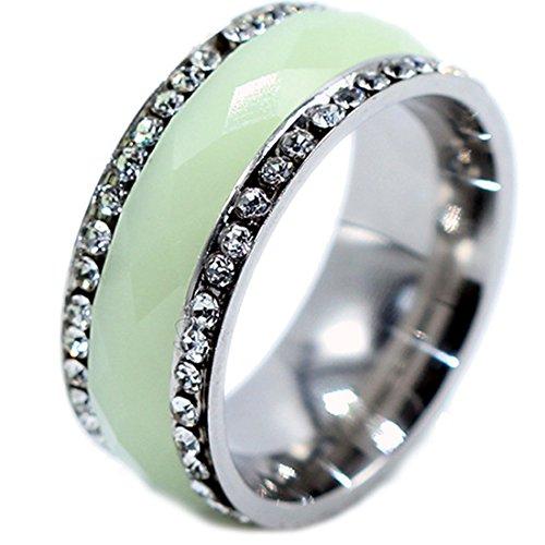 (Qiao La CZ Watch Clock Inlay Fluorite Luminous Glow Light Up In Dark Promise Engraved Steel Petite Band Ring Size 10)