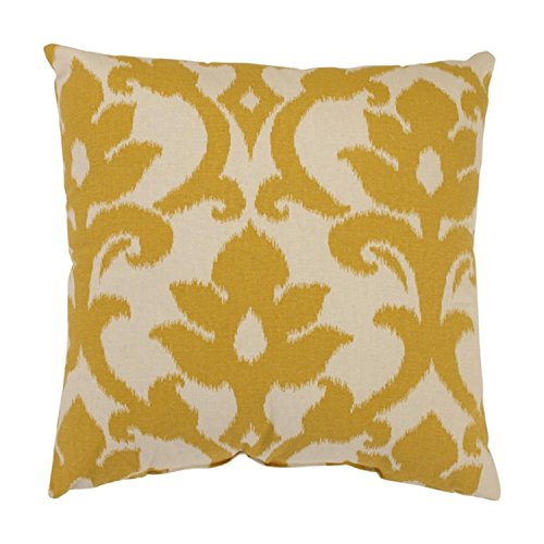 Azzure Marigold Yellow and White Damask Pattern Cotton Throw Pillow (Marigold Pattern)