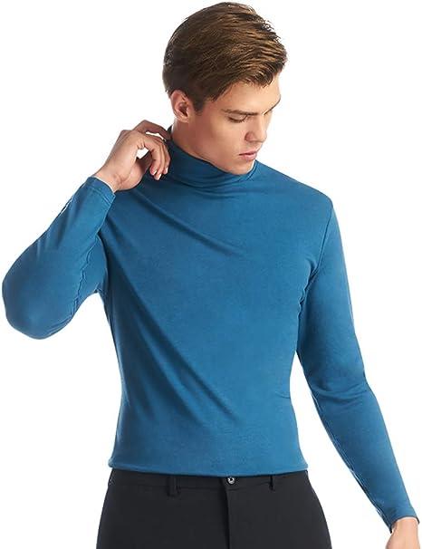 HECHEN Suéter para Hombres - Cuello Alto de algodón Suave y Liso - se Puede Usar una Camisa Casual de algodón de Manga Larga y Camisa Abrigada: Amazon.es: Deportes y aire libre