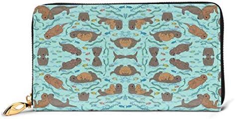 ラッコアクアシーフォーム中小 本革長財布 ファスナー財布 おしゃれ 大容量 男女共用高級おしゃれなジップレザーウォレットロングハンドバッグ