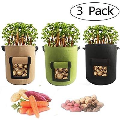 Decsun Potato Grow Bag Plant Receptacle Vegetable Growing Bags Plant Cultivation Pot for Flower Vegetables (3, 5 Gallon(3colors)) : Garden & Outdoor