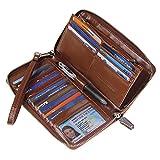 Women RFID Blocking Wallet Wax Genuine Leather Zip Around Clutch Large Travel Purse Coffee