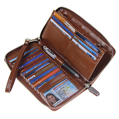 Women RFID Blocking Wallet Wax Genuine Leather Zip Around Clutch Large Travel Purse Coffee