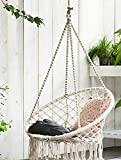 Porch Chairs E EVERKING Hammock Chair Macrame Swing, Hanging Cotton Rope Macrame Hammock Swing Chair for Indoor, Outdoor Home, Patio, Porch, Deck, Yard, Garden, Max Weight: 260 Pounds (White)