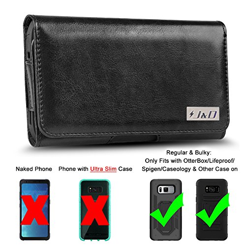 J&D Holster Compatible for Galaxy S7 Active/Galaxy S8 Active Holster with Belt Clip, PU Leather Holster Pouch and ID Wallet Case for Samsung Galaxy S8 Active Case (Fits with Bulky Case On) - Black