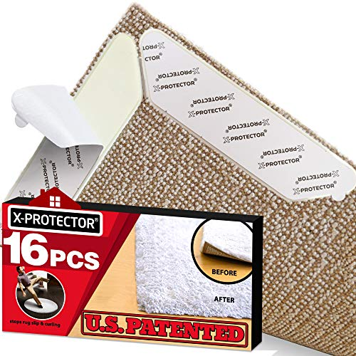 Rug Grippers X-PROTECTOR - Best 16 pcs Anti Curling Rug Gripper. Keeps Your Rug in Place & Makes Corners Flat. Premium Carpet Gripper with Renewable Carpet Tape - Ideal Non Slip Rug Pad for Your Rug!