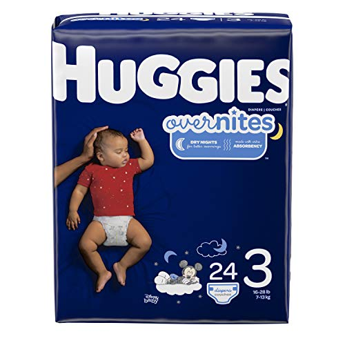 HUGGIES OverNites Diapers, Size 3, 24 ct., Overnight Diapers (Packaging May Vary) (3 Size Overnight Diapers Huggies)
