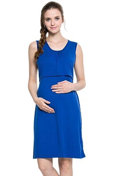 XFentech Mujeres Verano Ropa de Lactancia Vestidos Embarazadas Maternidad Madres Prenatales y Postnatales Color Sólido Sin