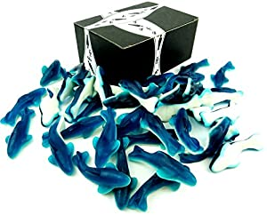 Gummy Blue Sharks by Cuckoo Luckoo Confections, 2 lb Bag in a BlackTie Box