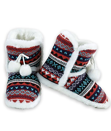 Iconoflash Womens Fair Isle Sweater Knit Bootie Slipper Roest