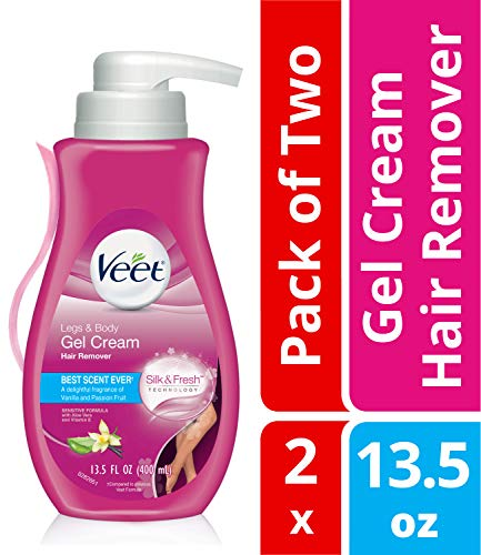 Veet Leg & Body Gel Hair Removal Cream- Sensitive Formula With Aloe Vera & Vitamin E, Keeps Skin Hydrated, Vanilla & Passion Fruit Scented,13.5 oz. (Pack of 2) - Gel Cream Hair Remover