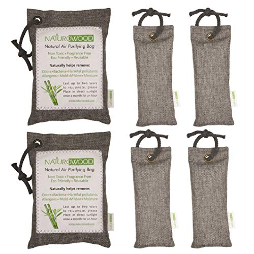 (NaturoWood Bamboo Charcoal Air Purifying Bags, The Best Natural Odor Eliminator for Home, Cars, Closets, Bathrooms, Sport Shoes and Bags and Pet Areas- 4x75 g and 2x200 g with 4 Hanging Robes)