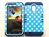 samsung wave ii - SAMSUNG GALAXY S II S2 EPIC 4G TOUCH CASE POLKA DOTS BLUE WHITE DB-TP1633 HEAVY DUTY HIGH IMPACT HYBRID COVER NAVY BLUE SILICONE SKIN D710