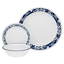 CORELLE Livingware 16-Piece Dinnerware Set, True Blue, Service for 4