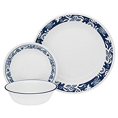 "Corelle 1114046 Livingware 16-Piece Dinnerware Set, True Blue, Service for 4 - Service for 4 includes: 4 each 10-1/4"" Dinner Plates, 6-3/4"" Bread and Butter Plates, 18-Ounce Soup/Cereal Bowls, 11-Ounce Stoneware Mugs Made with break and scratch resistant patented Vitrelle glass technology Space saving design: lightweight and thin, yet extremely durable - kitchen-tabletop, kitchen-dining-room, dinnerware-sets - 510TJn0zXQL. SS400  -"