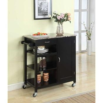 Kings Brand Black Finish Wood & Marble Finish Top Kitchen Storage Cabinet Cart