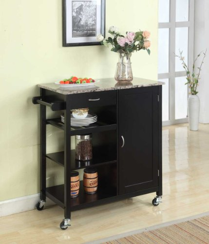 (King's Brand Black Finish Wood & Marble Finish Top Kitchen Storage Cabinet Cart)