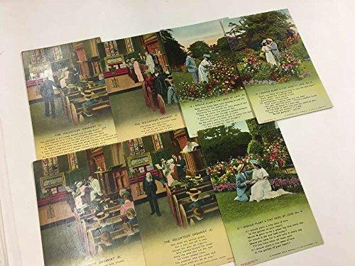 Group Of 7 Bamforth Poem Organist Love Couple Antique Postcards K71731