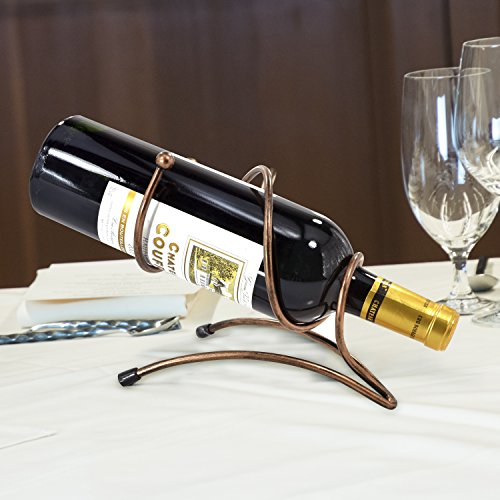 Artistic Spiral Bronze Tone Metal Single Bottle Tabletop Wine Holder Display Rack (Wine Bottle Stand)