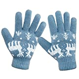 LETHMIK Christmas Thick Knit Gloves Winter Deer Knitted Warm Glove for Women&Girls Light Blue,One Size (Superior Elasticity)
