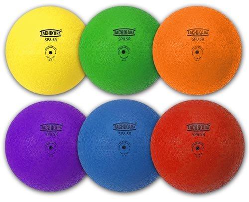 Tachikara 8.5-inch Rubber Playground Balls- SET OF SIX COLORS by Tachikara