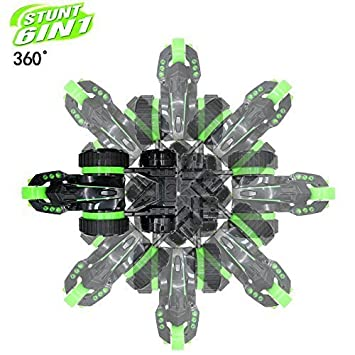 SZJJX Five Wheels Race Stunt Car Remote Control RC Vehicle with LED Headlights Extreme 2WD High Speed 360 Degree Rolling Rotating Rotation Green