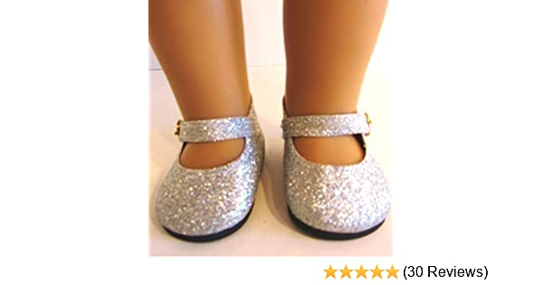 dea501f625 Silver Glitter Shoes for American Girl Doll,18 Inch Dolls and Frozen Elsa  from THE WISHLIST STORE