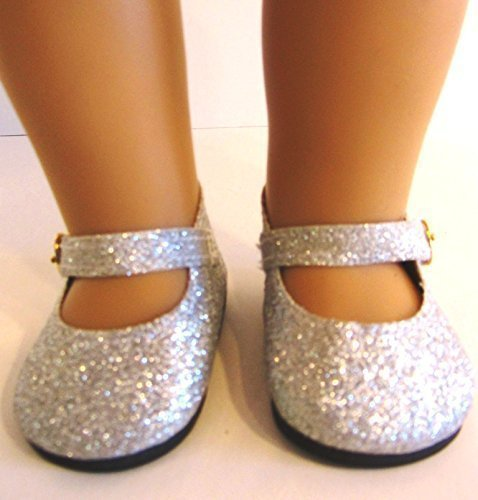 Silver Glitter Shoes for American Girl Doll,18 Inch Dolls and Frozen Elsa from THE WISHLIST STORE