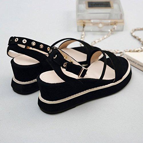 Chaussures De Décontractées Plage À Compensées Coréenne Sandals Femme Version Ouvert Noir Bout Romaines wpfn0q8