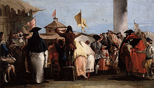 Oil Painting 'Tiepolo Giandomenico El Mundo Nuevo Ca. 1765 ' Printing On Perfect Effect Canvas , 10 X 17 Inch / 25 X 44 Cm ,the Best Living Room Artwork And Home Artwork And Gifts Is This Beautiful Art Decorative Canvas Prints