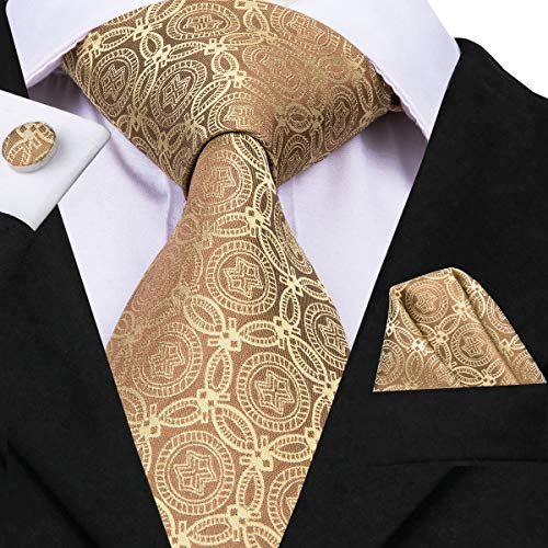 Floral Pattern Necktie - Hi-Tie Men Brown Gold Wedding Floral Pattern Tie Necktie with Cufflinks and Pocket Square Tie Set