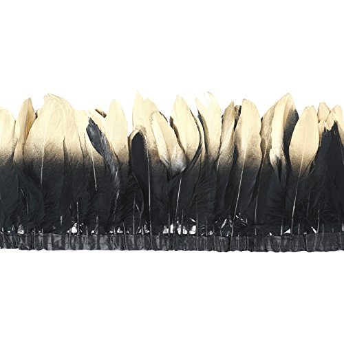 Black Gold Trim - AWAYTR Duck Goose Feather Trim Fringe 2 Yards (Gold&Black)