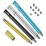Bargains Depot New 5mm High-Sensivity Fiber Tip Capacitive Stylus Dual-tip Universal Touchscreen Pen for All Tablets & Cell Phones with 8 Extra Replaceable Fiber Tips (4 Pcs, Black/Aqua/Silver/Yellow)