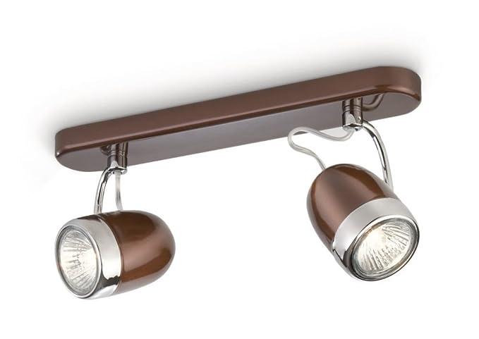 Plafoniere Minisun : Philips balsa barra da 2 faretti metallo marrone e dettaglio cromo
