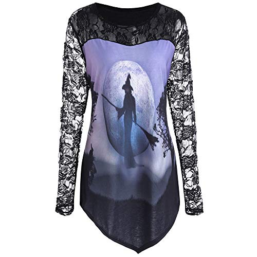 lotus.flower 2018 Women Halloween Witch Printed Design T-shirt Blouse Lace Insert Shirt Top (2XL, Purple) -