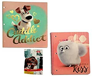 The Secret Life of Pets 1 Subject Notebook 3 Hole Vinyl Portfolio Folder and Erasers Bundle