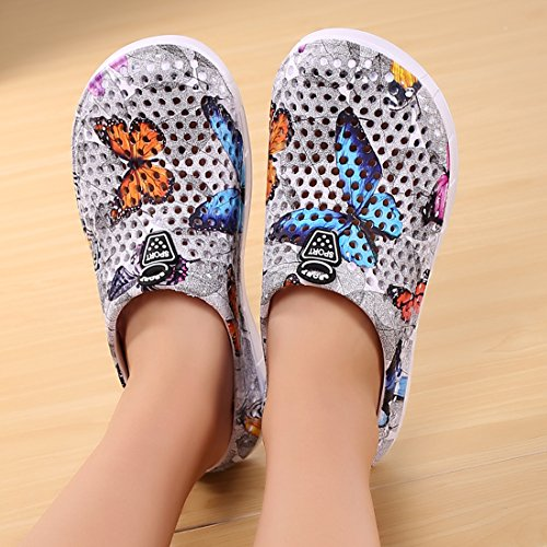 Clogs Butterfly Mesh Beach Sandals Drying Quick Slip Mules Slippers Breathable Gray Shoes Slippers Sandal Women's Non Garden 7wZHH
