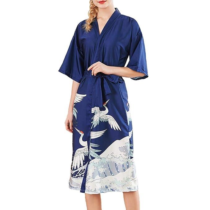 Bata para Mujer Albornoz Primavera Verano Camisón Camisón Largo Satén Ropa De Dormir Ropa De Casa Pijamas Casuales: Amazon.es: Ropa y accesorios