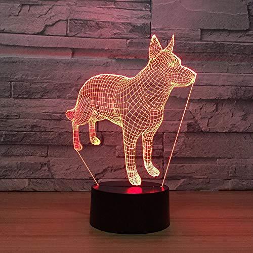 kkkmb Doberman Pinscher 3D Night Lights 7 Colors Changing Led Novelty Animal Dog Lamp Child Home Bedside Decor ()