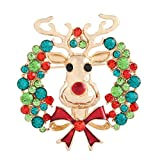 Isaloe Holiday Christmas Tree Cany Cane Snowflake Apple Deer Brooch Pin Xmas Gift (Deer)