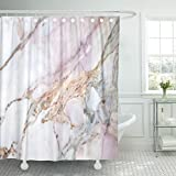 Hot Pink and Brown Shower Curtain Breezat Shower Curtain Pink White Marble Pattern with High Resolution Gray Black Waterproof Polyester Fabric 60 x 72 Inches Set with Hooks