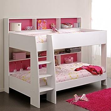 Hochbett Spielbett etagenbett weiß inkl regale rückwand boden für matratzen