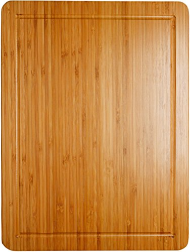 Somarian Groove Stunning Double Sided Design Cutting and Chopping Bamboo Board, 16'' x 12'' x 0.8'' Large