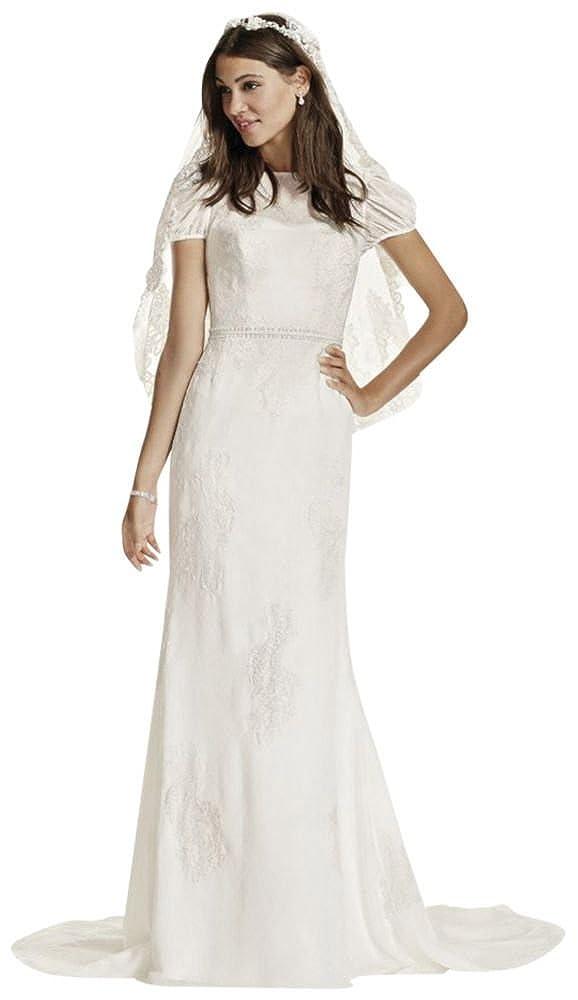 Davids Bridal Short Sleeve Dotted Chiffon Sheath Gown Style Wg3700