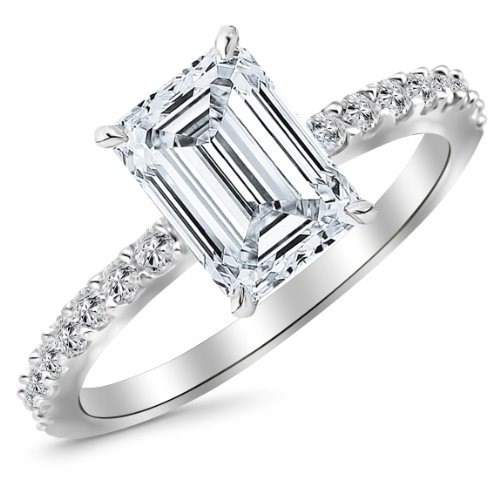 White Gold Classic Sidestone Pave Set Diamond Engagement Ring with a 1 Carat Emerald Cut J Color VS1 Clarity Center (Diamond Emerald Jewelry Set)