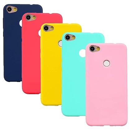 HereMore 5 x Funda para Xiaomi Redmi Note 5A/Note 5A Prime, Carcasa Protectora Mate en Silicona Gel Ultra Delgado Antigolpes Cubierta de Protección ...