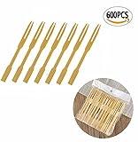 wooden fondue forks - UPlama 600Pcs Bamboo Forks,Wooden Appetizer Forks for Appetizer, Cocktail, Fruit, Pastry, Dessert,3.4inch