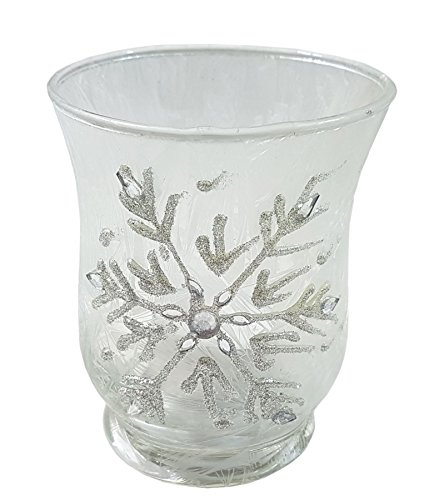 FROSTED EFFECT SNOWFLAKE DIAMANTE GLASS TEA LIGHT CANDLE HOLDER 6.5 X - Glasses Diamante